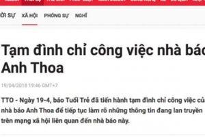Đình chỉ công việc nhà báo Anh Thoa vì nghi vấn xâm hại tình dục