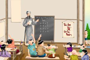 'Thầy giáo tháo giày, tháo cả ủng thủng cả áo, tháo giáo án dán áo'