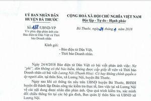 Vụ việc Lương Nội - Thanh Hóa: Lãnh đạo UBND huyên cảm ơn Thời báo Doanh nhân