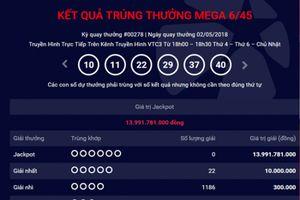 Kết quả xổ số Vietlott 2/5: Không ai trúng giải Jackpot 13 tỷ đồng