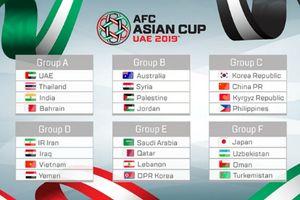 Bốc thăm VCK Asian Cup 2019: Việt Nam cùng bảng với Iran, Iraq và Yemen