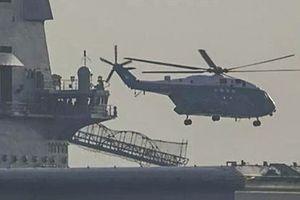 Trực thăng cất cánh từ tàu sân bay tự đóng đầu tiên của Trung Quốc