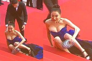 Hoa hậu Quý bà Trung Quốc khoe ngực khủng, 'vồ ếch' ở thảm đỏ Cannes