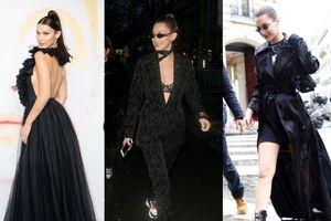 Mới nửa đầu 2018, Bella Hadid biến hóa thế nào với váy áo màu đen?