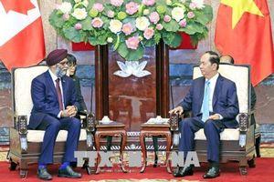 Chủ tịch nước Trần Đại Quang tiếp Bộ trưởng Bộ Quốc phòng Canada Harjit Singh Sajjan