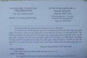 Đề thi và gợi ý đáp án môn Văn tuyển sinh lớp 10 tại Tiền Giang năm học 2018 - 2019