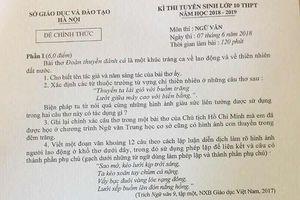Đề văn, gợi ý đáp án thi vào lớp 10 ở Hà Nội
