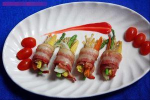 Thịt ba chỉ cuộn rau củ ngon cơm