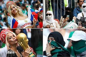 Fan nữ Nga - Ả Rập Xê-út: Người làm 'bỏng mắt', người chỉ 'hở 2 con mắt'