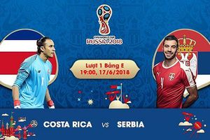 Link xem trực tiếp Costa Rica vs Serbia, bảng E World Cup 2018
