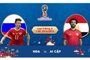 Link xem trực tiếp Nga vs Ai Cập, lượt trận 2 bảng A World Cup 2018