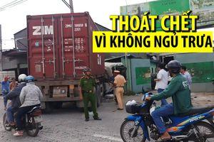Xe container lao thẳng vào công ty, bảo vệ thoát chết vì không ngủ trưa