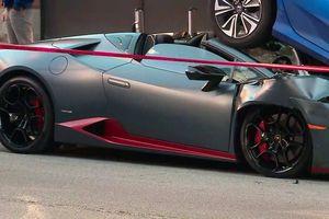 Siêu xe Lamborghini Huracan tan nát sau cú tông nhấc bổng đuôi Honda Civic