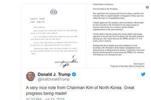 Tổng thống Mỹ Trump tiết lộ bức thư của nhà lãnh đạo Triều Tiên