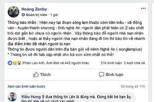 Tìm ra người lên Facebook tung tin phát hiện 2 thi thể dạt gần bờ Sông Lam