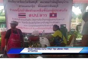 Tình nguyện viên nhiều nước đến Attapeu cứu trợ người dân vụ vỡ đập
