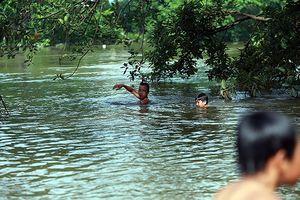 Ái ngại cảnh trẻ em vùng lụt Chương Mỹ vô tư bơi lội trong nước lũ
