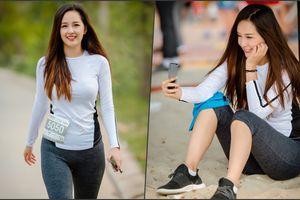 Hoa hậu Mai Phương Thúy 'khoe' vẻ đẹp rạng rỡ trong buổi chạy marathon