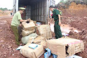 Đồn Biên phòng Bắc Sơn tiêu hủy hàng nhập lậu