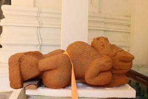 Phát lộ tượng sư tử Simha tại di tích Chăm Phong Lệ