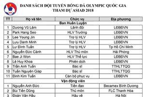 Đội tuyển Olympic Việt Nam công bố đội hình dự ASIAD 2018