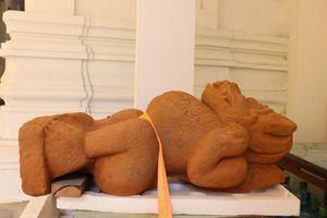 Đà Nẵng: Phát hiện tượng sư tử đá Simha tại di tích Chăm Phong Lệ