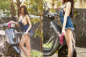 Phát sốt cảnh người đẹp sexy rửa xe tay ga Vespa