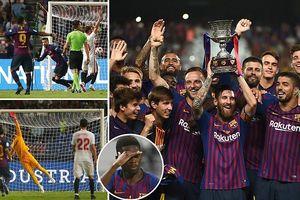 Messi lần đầu giơ cao Cúp với tư cách đội trưởng Barcelona