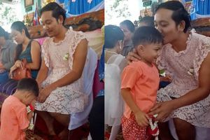 Ngỡ ngàng lý do ông bố mặc váy, cài nơ đến trường trong Ngày của mẹ