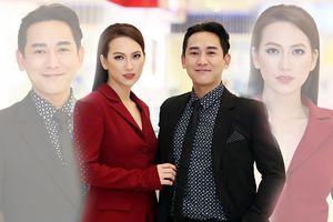 Cặp đôi Hứa Vĩ Văn và Phương Anh Đào diện vest đỏ đen trong họp báo 'Chàng vợ của em': Ai 'soái ca' hơn?