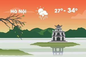 Thời tiết ngày 24/8: Hà Nội oi nóng 34 độ C, có lúc mưa dông
