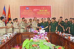 BĐBP Bình Phước và Ty Công an tỉnh Kratie hội đàm về công tác bảo vệ biên giới