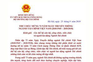 Bộ trưởng Đinh Tiến Dũng gửi thư chúc mừng 73 năm thành lập ngành Tài chính Việt Nam