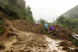Lào Cai: Sạt lở 3 điểm trên Quốc lộ 279, giao thông bị ách tắc