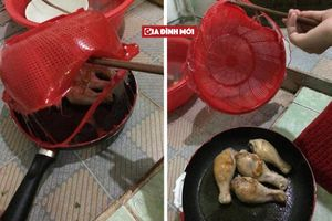 Khi đàn ông vào bếp: Thanh niên chiên gà tiện thể rán luôn rổ nhựa