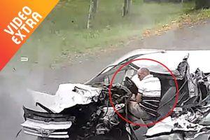Khoảnh khắc tài xế thoát chết thần kỳ sau tai nạn ở Ukraine
