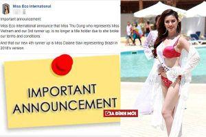 Thư Dung chính thức bị thu hồi danh hiệu Á hậu Miss Eco International