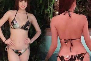 Em gái Công Vinh diện bikini, khoe dáng nóng bỏng bên bể bơi