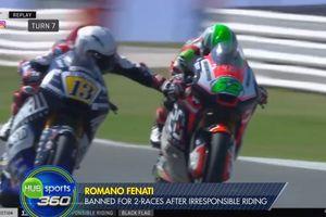 Kinh hoàng tay đua Romano Fenati chơi xấu - bóp phanh đối thủ khi vào vận tốc 225km/h