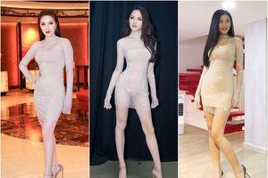 Nối gót các người đẹp khác, Hương Giang Idol lại mặc váy cũ đi thi hoa hậu
