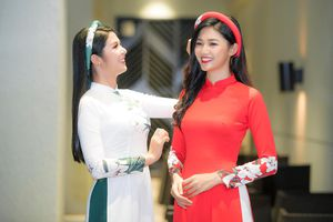 Á hậu Thanh Tú khoe nhan sắc xinh đẹp trong áo dài của HH Ngọc Hân