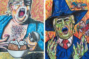 Danh hài Jim Carrey gây tranh cãi với bức họa Donald Trump la hét
