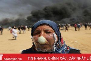Người Palestine đeo mặt nạ hành tây đối phó với lựu đạn hơi cay của binh lính Israel