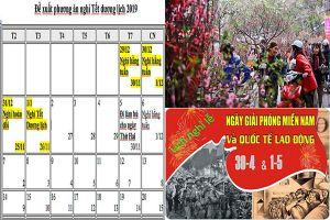 Tết Dương lịch 2019, Tết Âm lịch, 30/4-1/5/2019 được nghỉ mấy ngày?