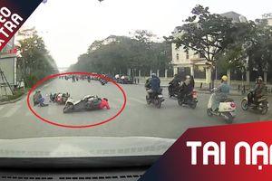 Cố tình vượt đèn đỏ, xe máy gây tai nạn