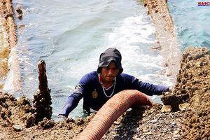 Cận cảnh thợ lặn ngâm mình giữa biển, tìm cách lặn vào khoang tàu đắm