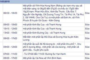 THÔNG BÁO: Lịch cúp điện Kiên Giang ngày 21/5/2018