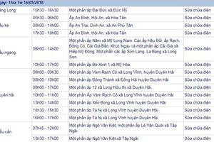 THÔNG BÁO: Lịch cúp điện Trà Vinh ngày 16/5/2018