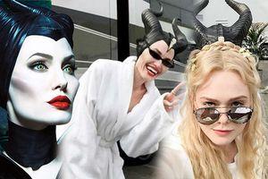 'Công chúa Aurora' Elle Fanning và 'Tiên Hắc Ám' Angelina Jolie nhí nhố trên phim trường 'Maleficent 2'