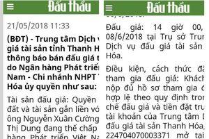 Bất ngờ từ quyết định dừng bán đấu giá tài sản của TTDVBĐGTS Thanh Hóa